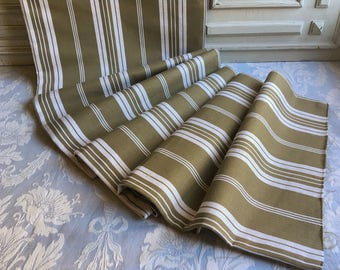 """Authentic French mattress ticking, striped metis linen 85"""" x 66"""" UNUSED Vintage French 1930's fabric upholstery repurposing country chic."""