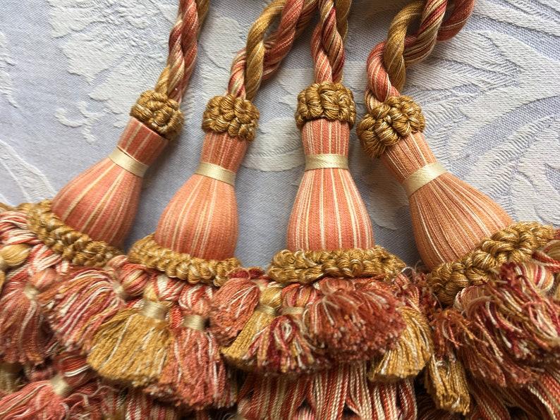 French pair curtain tieback French pair curtain tiebacks French drapery tie back French vintage holbacks Pair tieback. Double tassels
