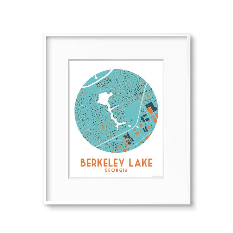 Berkeley Lake Georgia Map Art Custom Maps available image 0