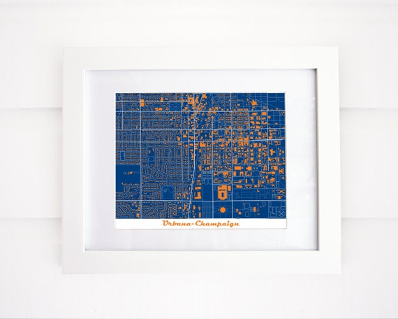 Urbana Champaign Illinois Map University Of Illinois Etsy