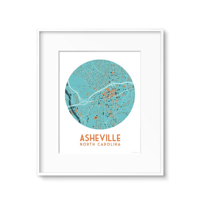 Asheville North Carolina Map Art 4 Styles image 0