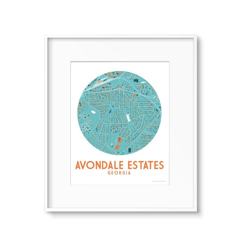 Avondale Estates Georgia Atlanta Area Map Print image 0
