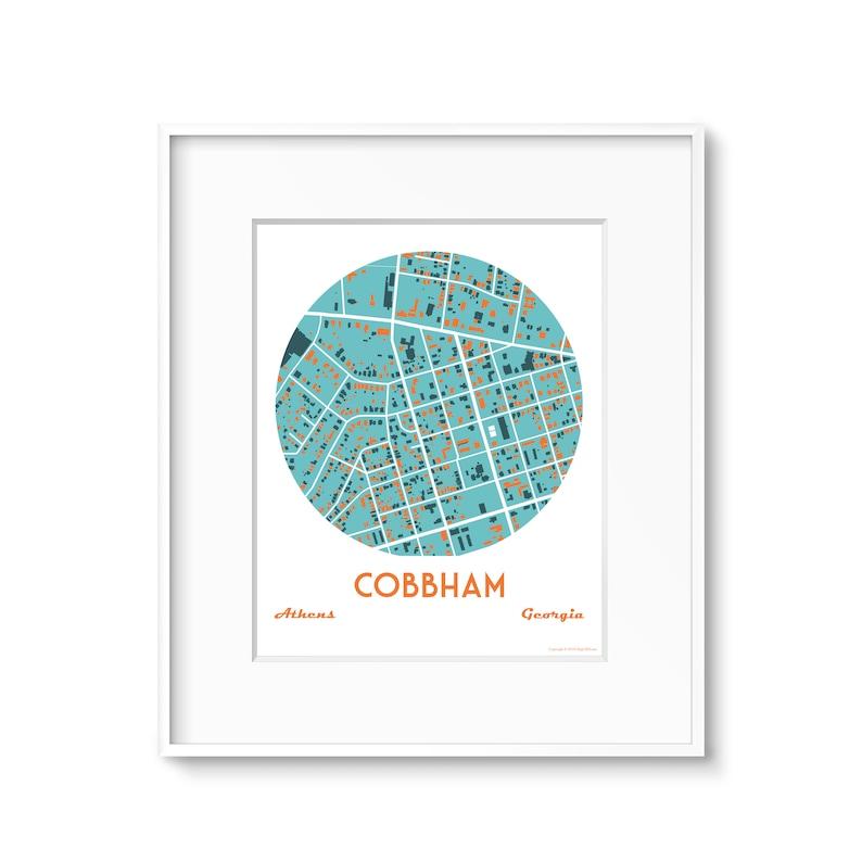 Cobbham Athens Ga Neighborhood Map Art image 0
