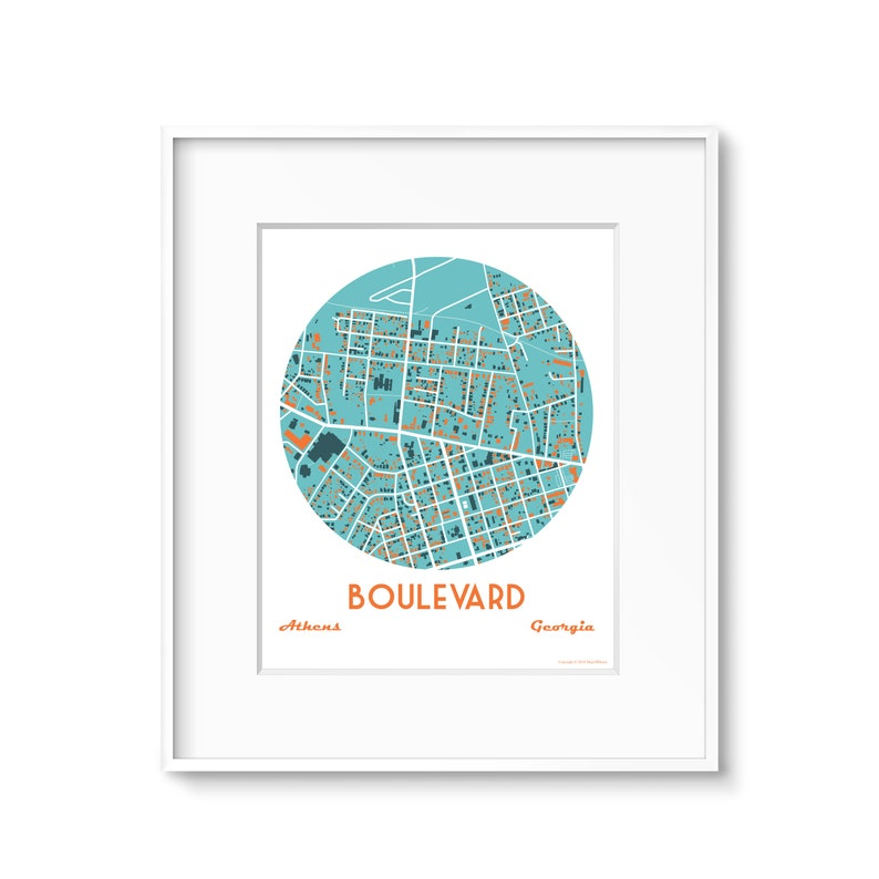 Boulevard Athens Ga Neighborhood Map Art image 0
