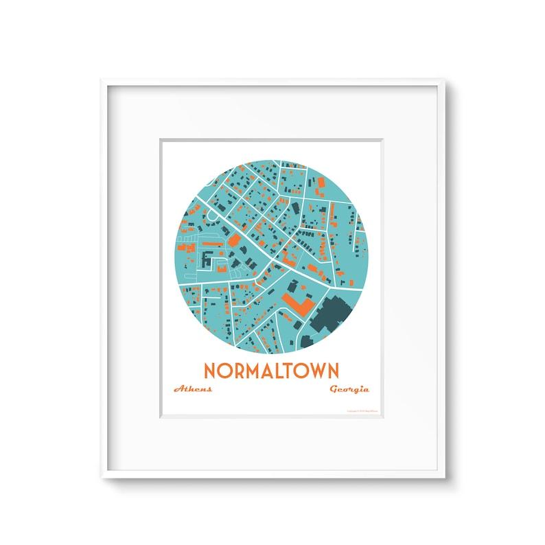 Normaltown Athens Ga Neighborhood Map Art image 0