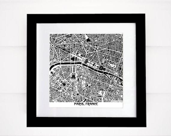 Paris Map Black And White.Paris Map Print France Map Black And White Paris Map More Etsy