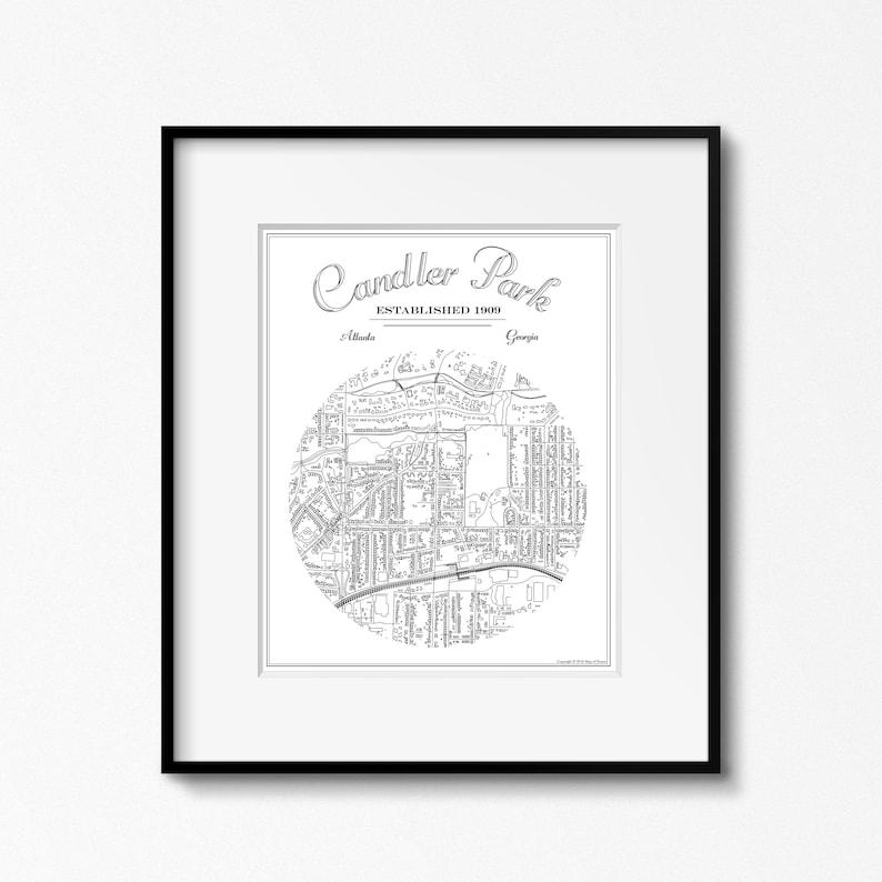 Candler Park Atlanta Neighborhood GA Map Vintage Style image 0