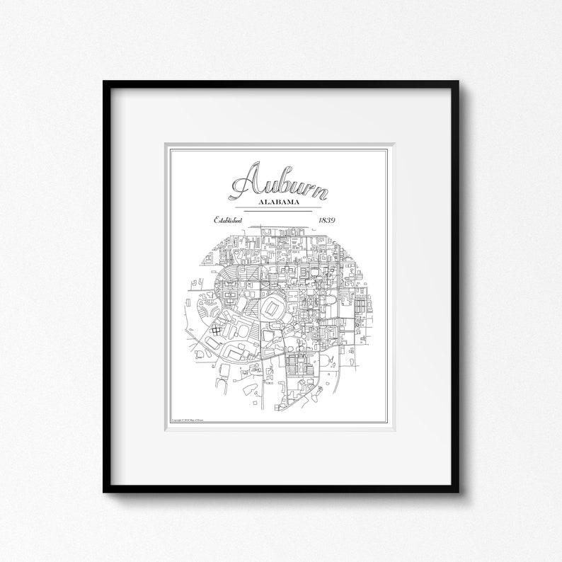 GRAD GIFT Auburn University Alabama Original Map Print image 0
