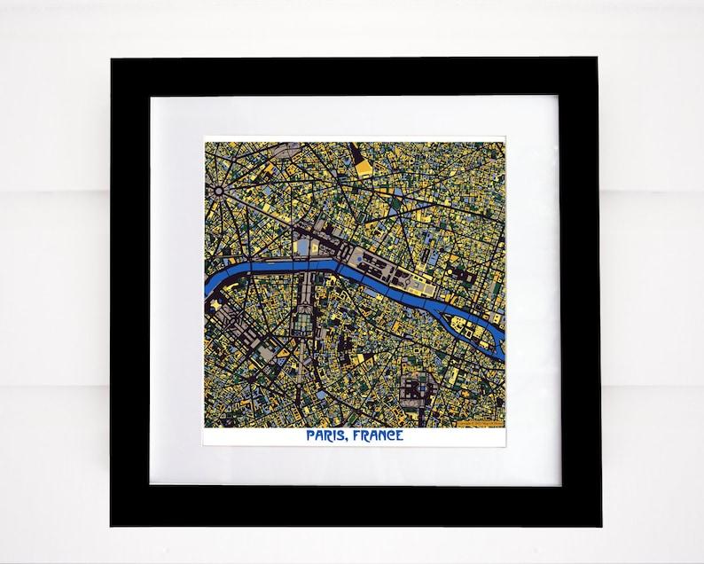 Paris Map Paris Art Paris Print Van Gogh Colors Eiffel image 0