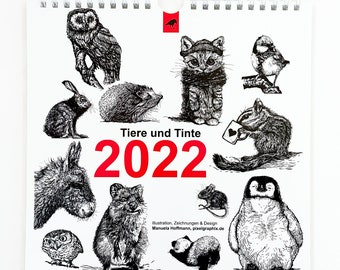 """Wall Calendar """"Animals and Ink 2022"""""""