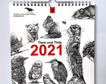 """Wall Calendar """"Animals and Ink"""" 2021"""