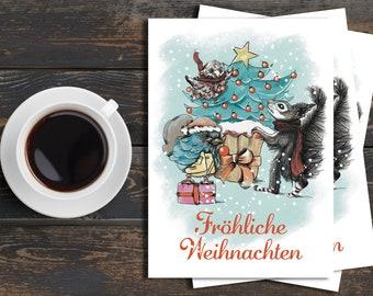 "Set of Christmas Cards ""Merry Christmas"" (3 pieces)"