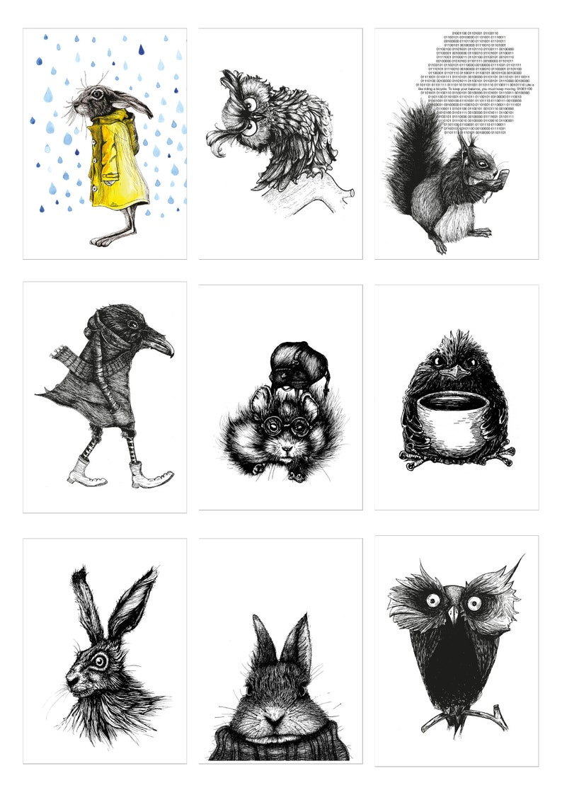 Postcard set black and white with one exception 24 pieces image 0