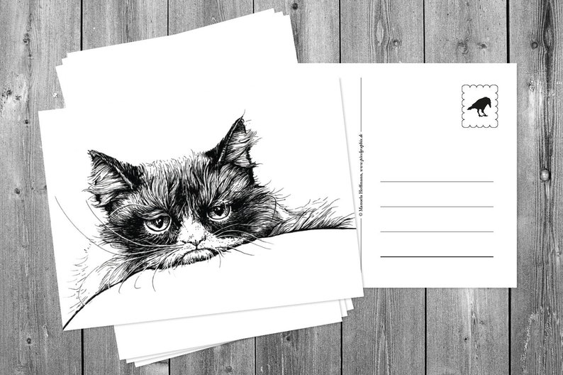 Postcards 5 pieces: Grumpy cat image 0