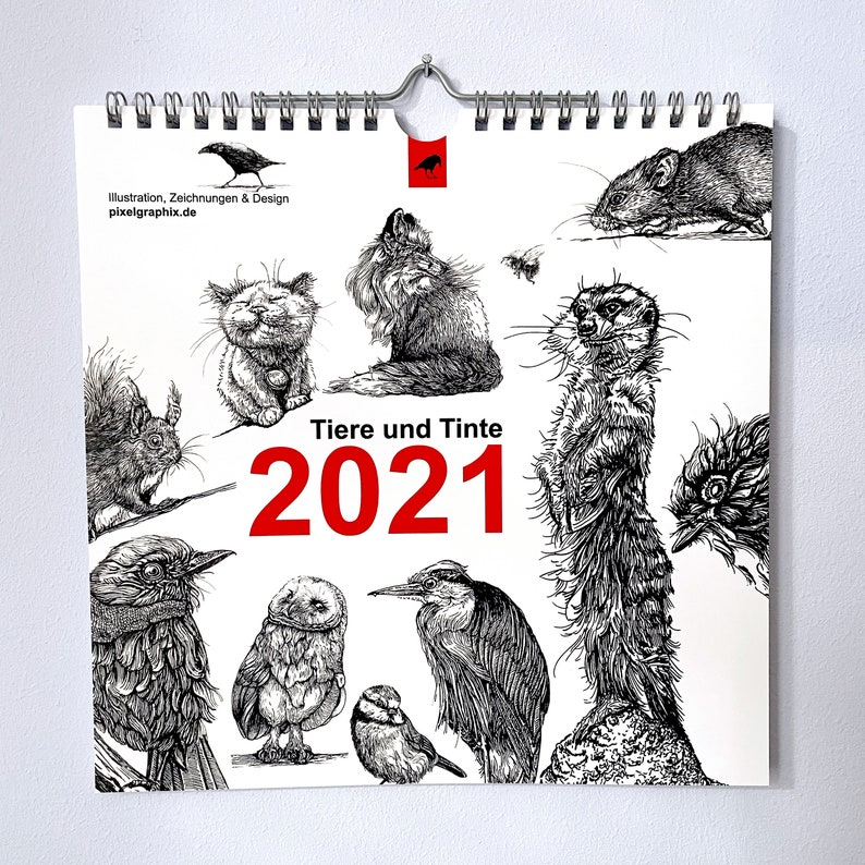 Wall Calendar Animals and Ink 2021 image 0