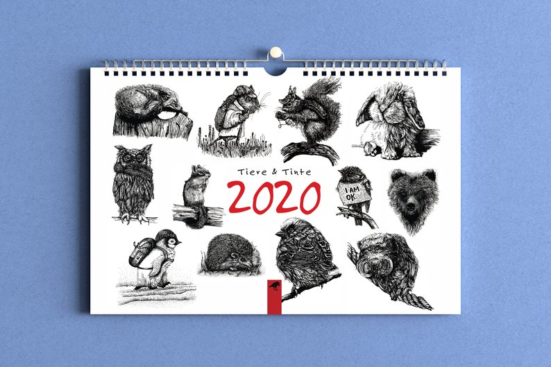 Calendar Animals and Ink 2020  Wall Calendar 2020 image 0