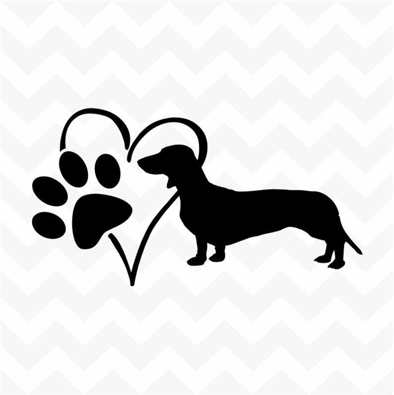 Dachshund Personalised Heart Dog Paw custom name vinyl sticker wall car