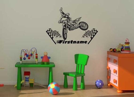 Custom Personalised Name Set Of 8 Motocross Bike Wall Art Stickers Kids Decal AU