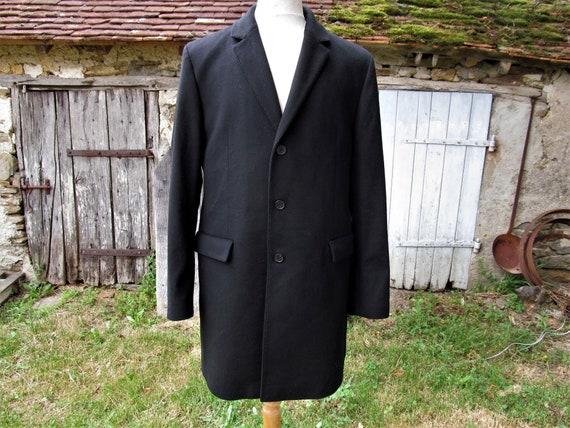 Hugo Boss pre loved mens black cashmere overcoat t