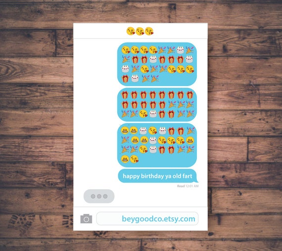 Printable Emoji Birthday Card Happy Ya Old Fart