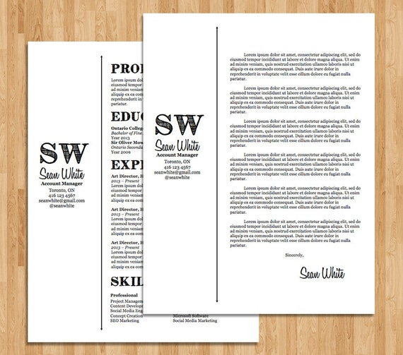 Resume / Cover Letter Template Sean Template Package Design | Etsy