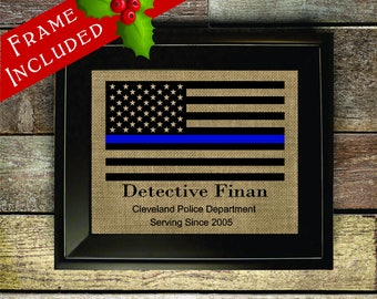 framed thin blue line officer gifts christmas gift thin blue line flag police officer rustic flag leo sign leo decorpol323 - Christmas Gifts For Police Officers