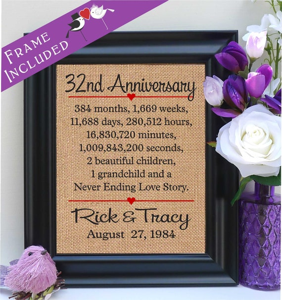 32 Wedding Anniversary Gifts: Framed 32nd Anniversary 32nd Wedding Anniversary Gift 32nd