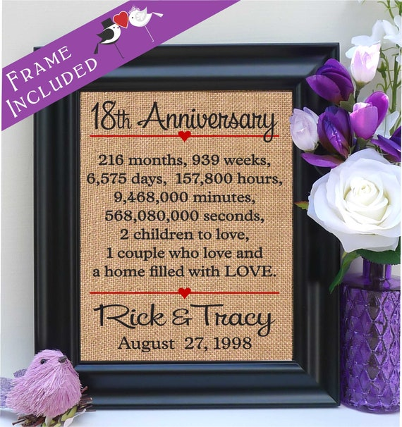 18th Anniversary Gift For Her 18th Wedding Anniversary Gift Etsy