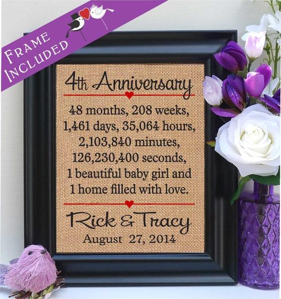 Framed 4th Anniversary 4th Wedding Anniversary Gift 4th Etsy