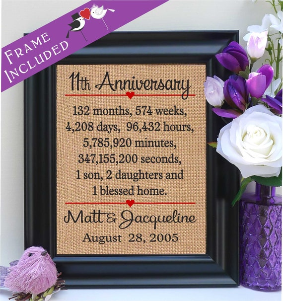 11 Year Wedding Anniversary Gifts: Items Similar To 11 Years Together Gift Print 11th