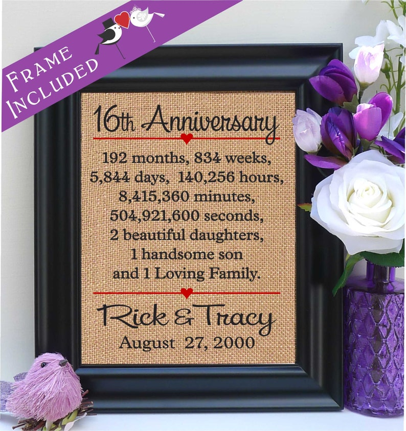 16th Anniversary 16th Wedding Anniversary Gift 16th Etsy