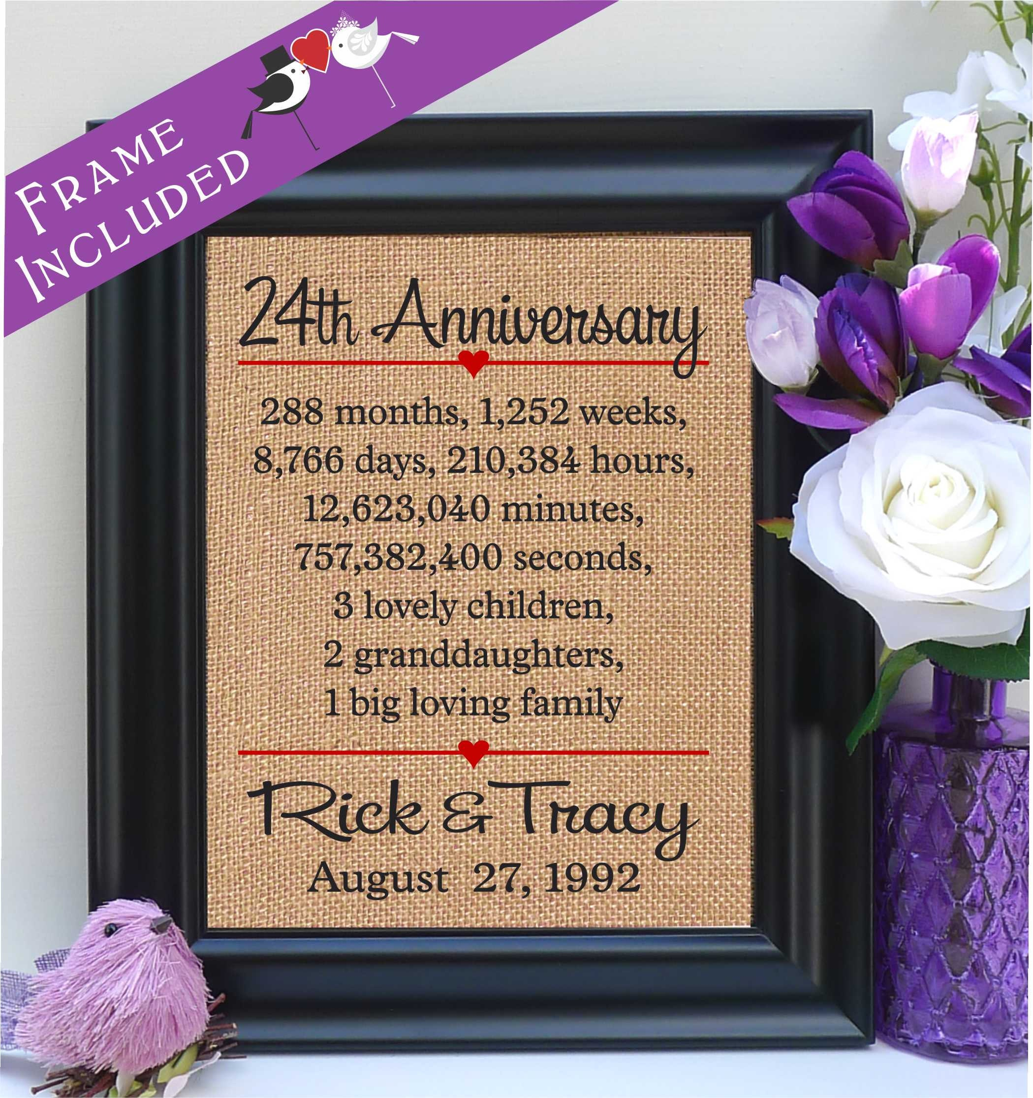 Framed 24th Anniversary 24th Wedding Anniversary Gift 24th Etsy