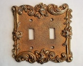 Vintage Double Toggle Light Switch Plate Cover Brass Gold Tone Ornate Roses and Swirls Metal Switchplate 1967 American Tack Hardware Co