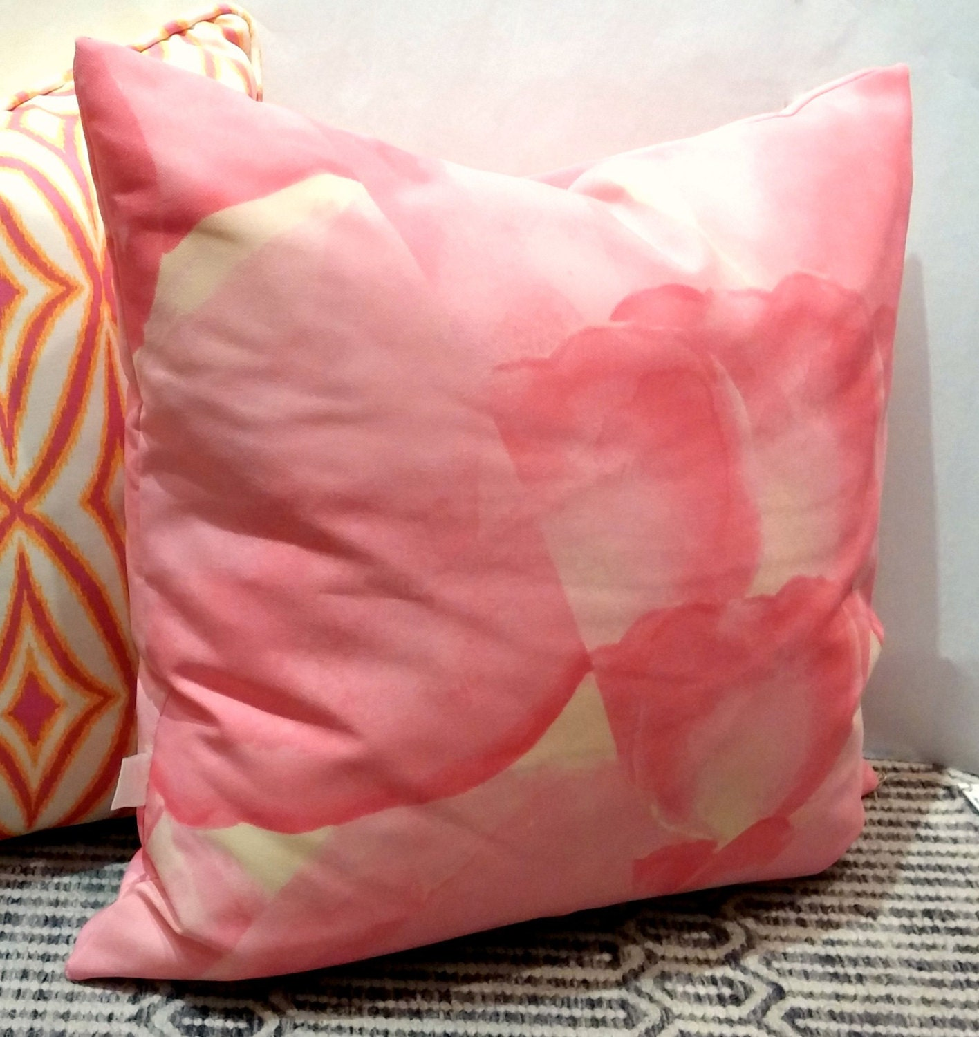 20x20 Indoor Outdoor Pillow Cover With Invisible Zipper Pink