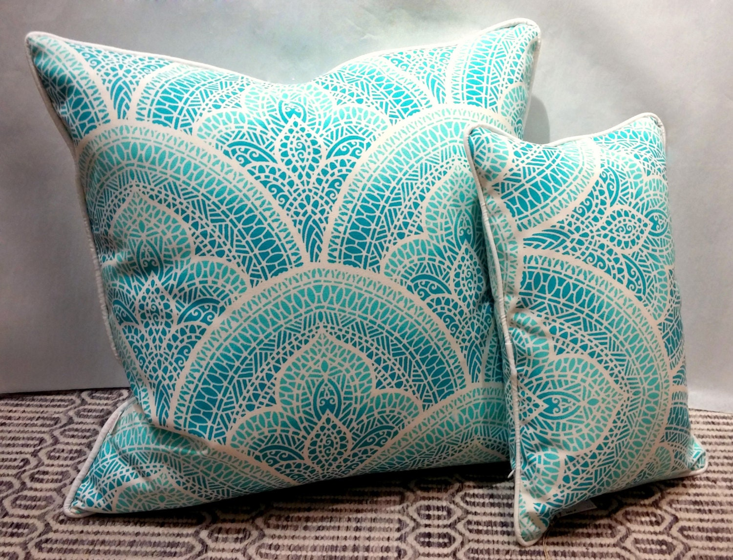 24x24 Indoor Outdoor Pillow Cover With Invisible Zipper Blue Mosaic