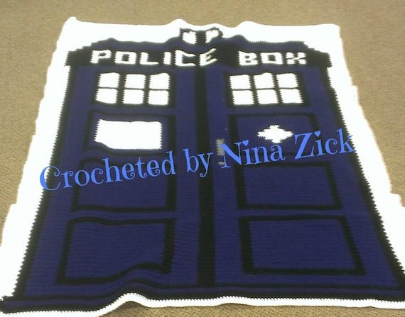 Doctor Who Tardis Inspired Graphghan Written Pattern Dr Etsy