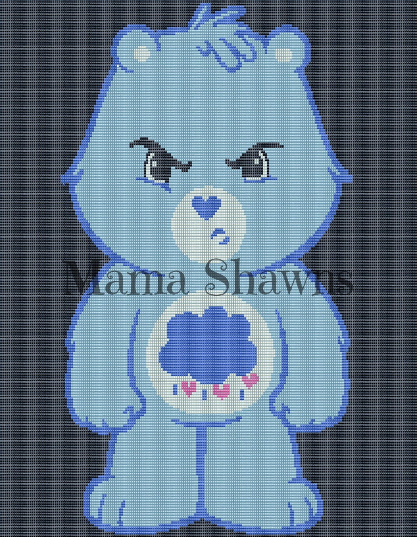 Grumpy Bear Inspired - Written Pattern, Graphghan, Crochet Pattern ...