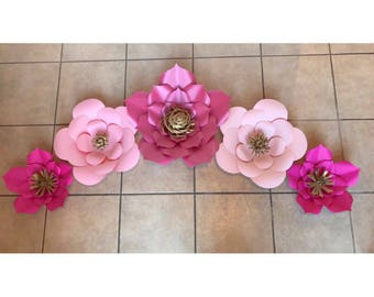 Big pink flowers etsy big paper flowers set of 5 pink paper flowers giant paper flowers different shades of pink mightylinksfo