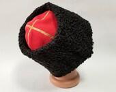 Russian Papakh Natural Astrakhan Fur Karakul Hat Army