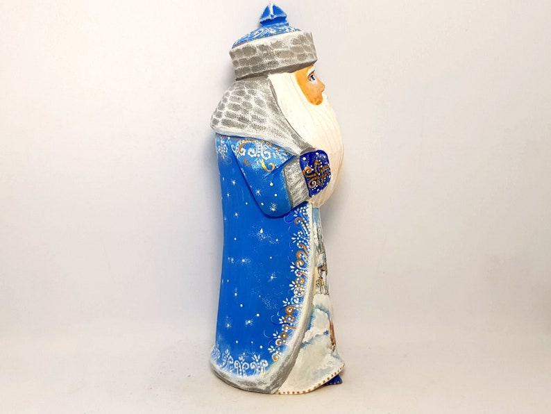 Carved Wooden Santa  Russian Ded Moroz  Height  20cm 8 inch