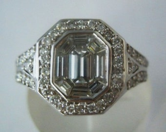 Antique Style 14K White Gold Diamond Engagement Ring Item #12