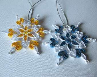 Set of 2 Christmas Paper Quilled Snowflakes Decoration, Set of 2 Christmas Snowflake Ornaments, Xmas Snowflakes Home Decor