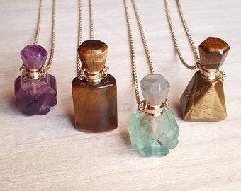 Gemstone Perfume Bottle Necklaces ~ Tigers Eye or Fluorite