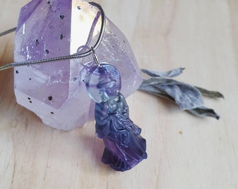 Carved Fluorite Kuan Yin Pendant Necklace ~ 50cm Stainless Steel Chain