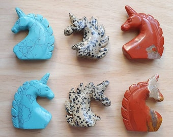 Carved Gemstone Unicorn Heads ~ Blue Howlite, Dalmatian Jasper, Red Jasper