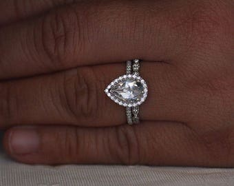 Wedding Ring Set, Sterling Silver Diamond Simulant and White Topaz Pear 10x7mm Bridal Ring Set, Engagement Ring and Wedding Band