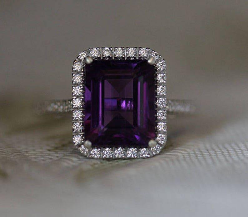 Amethyst Bridal Ring Emerald Cut 10x8mm Amethyst Engagement Ring Halo Ring Sterling Silver Ring Diamond Simulant Wedding Ring
