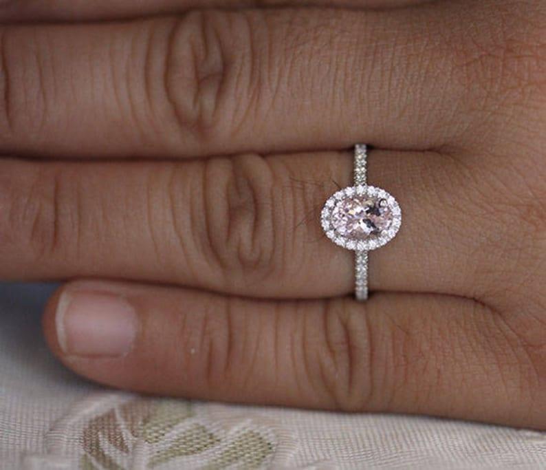 Pink Morganite Oval Ring Petite Diamond Simulant Halo Ring Wedding Ring Oval 7x5mm Natural Morganite Sterling Silver Engagement Ring
