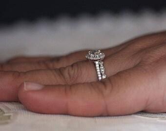 Sterling Silver Engagement Ring, Cushion 6mm Natural White Topaz Ring, Diamond Simulant Ring, Wedding Ring Set, Silver Bridal Ring Set