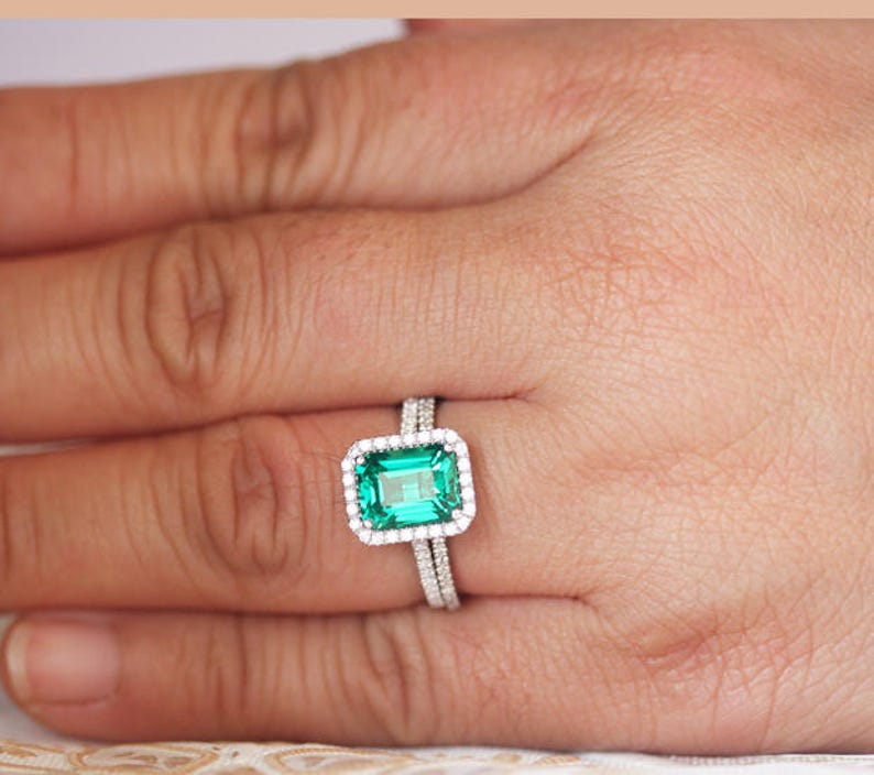 CZ Halo Ring 9x7mm Lab Emerald in Sterling Silver Engagement Ring Brdial Ring set Diamond Simulant Wedding Ring Set